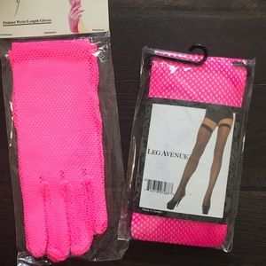 Pink fishnet thigh highs and pink gloves to match